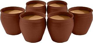 Odishabazaar Ceramic 6 Pc Kulhar Kulhad Cups Traditional Indian Chai Tea Cup Set of 6(5.4 oz)