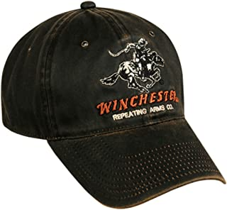b30dc5503b8 Winchester Dark Brown Weathered Cotton Cap w  Repeating Arms Co. Horse and  Rider Logo