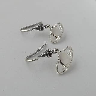Small Sterling Silver Celestial Saturn Earrings Gift