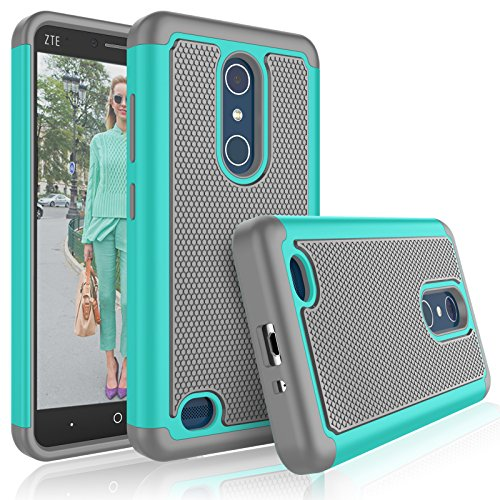 Tekcoo ZTE Zmax Pro Case, ZTE Blade X Max Cute Case, [Tmajor] Shock Absorbing [Turquoise] Adorable Rubber Silicone Plastic Scratch Resistant Defender Bumper Hard Cases Cover for ZTE Z983 Z981