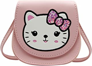 Little Girls' Cute Rabbit Crossbody Purse Small Bow Shoulder Bag Handbag for Kids Toddlers (Z Cat Pink)