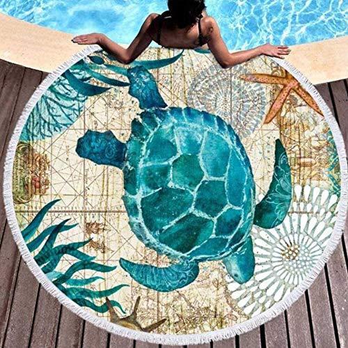 Bedrukte microvezel strandhanddoek voor volwassenen kinderen Yoga Mat kwastjes deken grote ronde handdoek badmode tapijt huisdecoratie picknick Mat