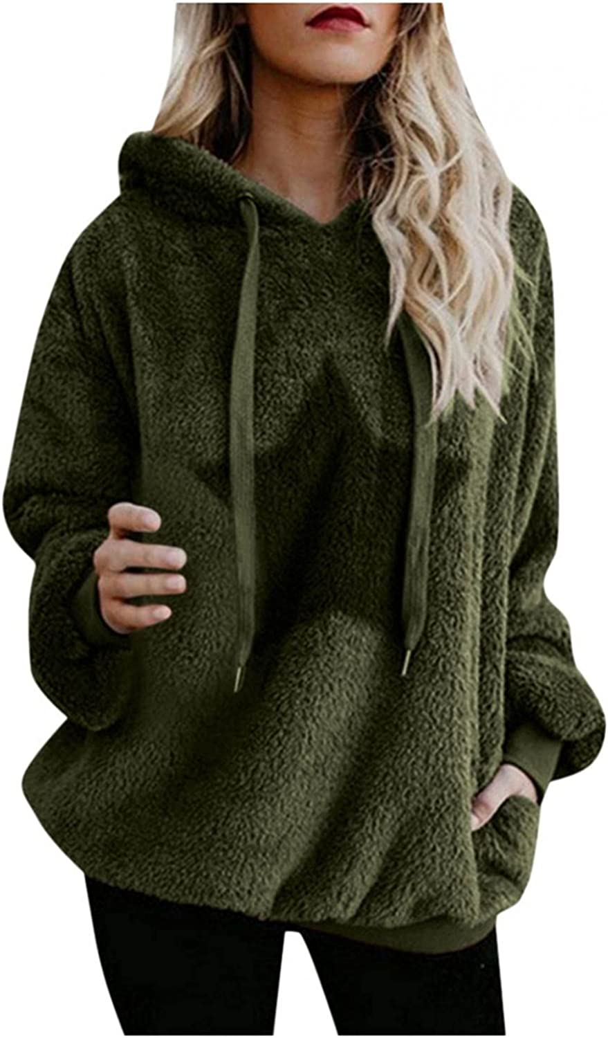 Womens Hoodies, Hooded Sweatshirts for Women Oversized Casual Double Fuzzy Long Sleeve Warm Pullover Hoodies Tops