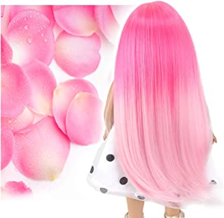STfantasy Doll Wig for 18 Inches AG OG Doll Journey Girls Gotz My Life Ombre Pink Straight Synthetic Hair Girls Gift
