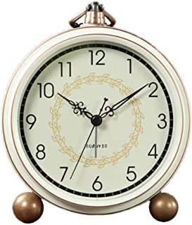 Maxspace Alarm Clock, Retro Non-Ticking Table Clock Battery Operated Small Alarm Clock with Quartz Analog, Desk Clock for Bedrooms Living Room Decor Kids (Arabic)