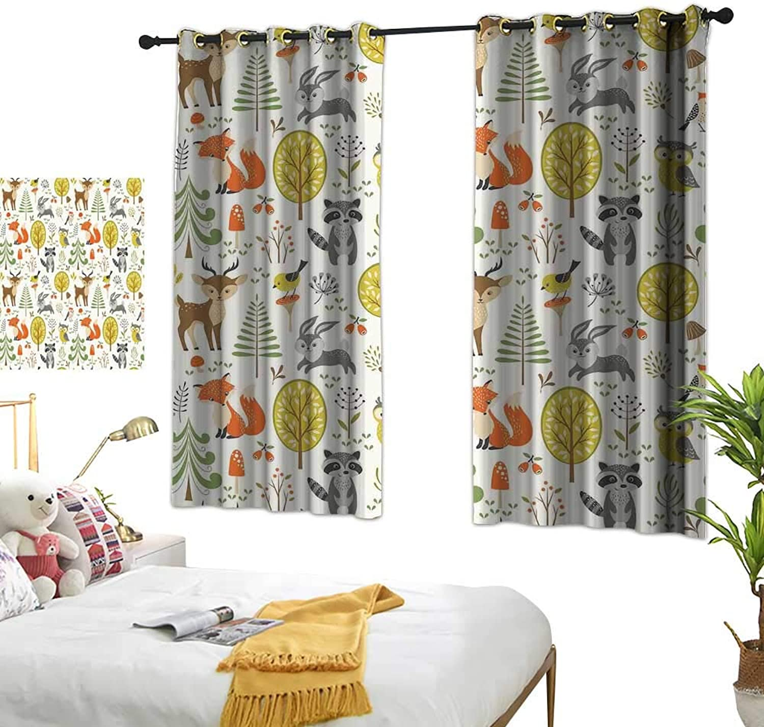 Anzhutwelve Grommet Top Drapes Kids,Woodland Forest Animals Trees Birds Owls Fox Bunny Deer Raccoon Mushroom Home and W55 x L39 Grommet Window Drapes