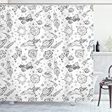 Ambesonne Nursery Shower Curtain, Doodle Solar System Astronauts Space Crafts Shooting Stars Science Fiction Theme, Cloth Fabric Bathroom Decor Set with Hooks, 75' Long, Black White
