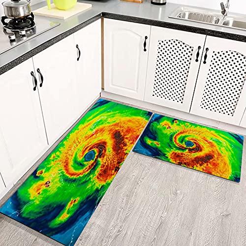 Alfombras Cocina Lavable Antideslizante Daño Geocolor Ojo Huracán Irma Golfo Tormenta Clima Tornado Extremo, Alfombrilla de Goma Alfombra de Baño