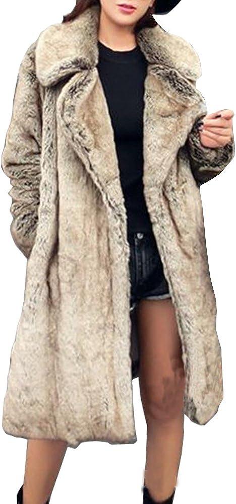 LIYT Women's Fashion Faux Fur Coat Winter Long Faux Mink Coat Overcoat