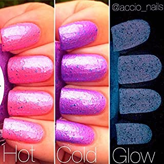 Unicorn Pink to Purple Color Changing AND Glow in the Dark Nail Polish - Glows Purple