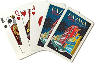 Havana, Cuba - Nighttime and Colorful Buildings - Vector (Playing Card Deck - 52 Card Poker Size with Jokers)