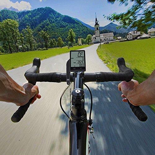 Wireless-Computer-Fahrrad, Fahrrad-Tachometer, Radfahren Kilometerzähler, Multifunktion mit extra großen LCD-Hintergrundbeleuchtung Display wasserdicht - 5