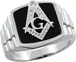 Mens Sterling Silver Black Onyx Masonic Ring CZ Stones & Rolex Style Sides, 19/32 inch wide