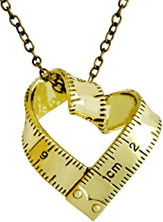 Greendou Fashion Jewelry Vintage Gold/Silver Tape Measure Twisted Heart Shaped Ruler Pendant Necklace (Gold)