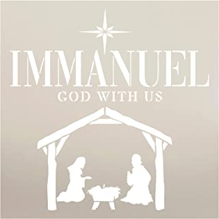 Immanuel God with Us Manger Stencil by StudioR12 | Christmas & Holiday | for Painting Signs | Word Art Reusable | Family R...