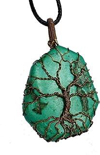 Filo di rame avvolto collana di perline turchese, Collana di rame,collana albero della vita Ciondolo a forma di albero del...