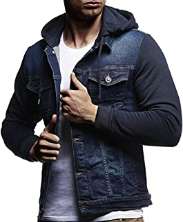 WSPLYSPJY Men's Classic Washed Denim Long Sleeves Button Flap Closure Jacket