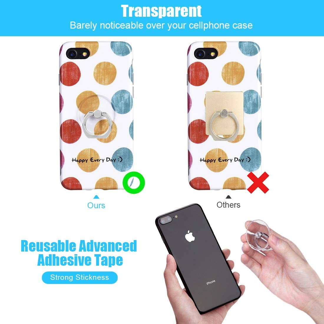 Cell Phone Ring Holder Transparent Phone Ring 360/° Rotation Phone Ring Holder Finger Ring Stand Kickstand Compatible Most of Smartphones Set of 4 Black
