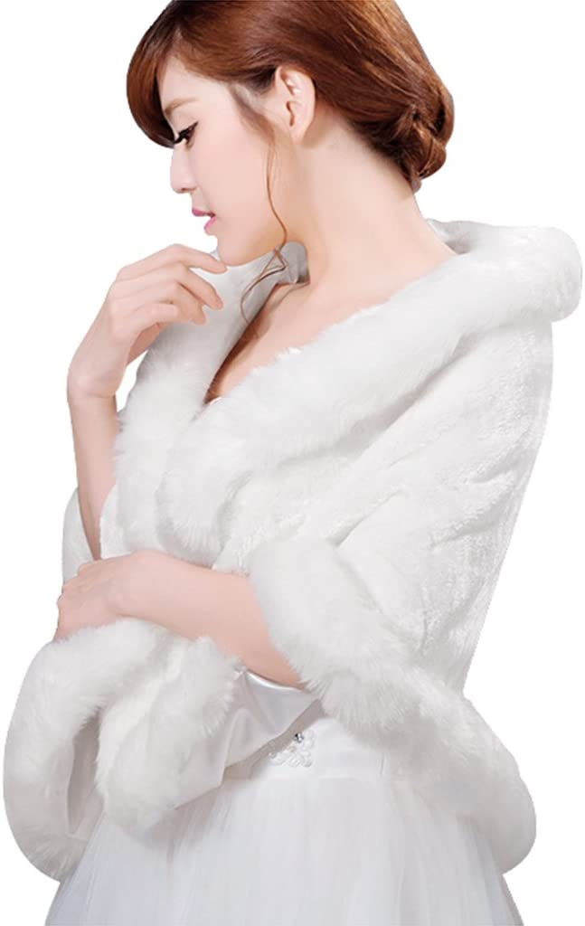 Womens Luxury Bridal Faux Fur Shawl Wrap Stole Shrug Winter Bridal Wedding Cover Up Bridal Wedding Shawl and Wraps Cloak Cape Wedding Dress Party Coat for Winter Warm Party Evening