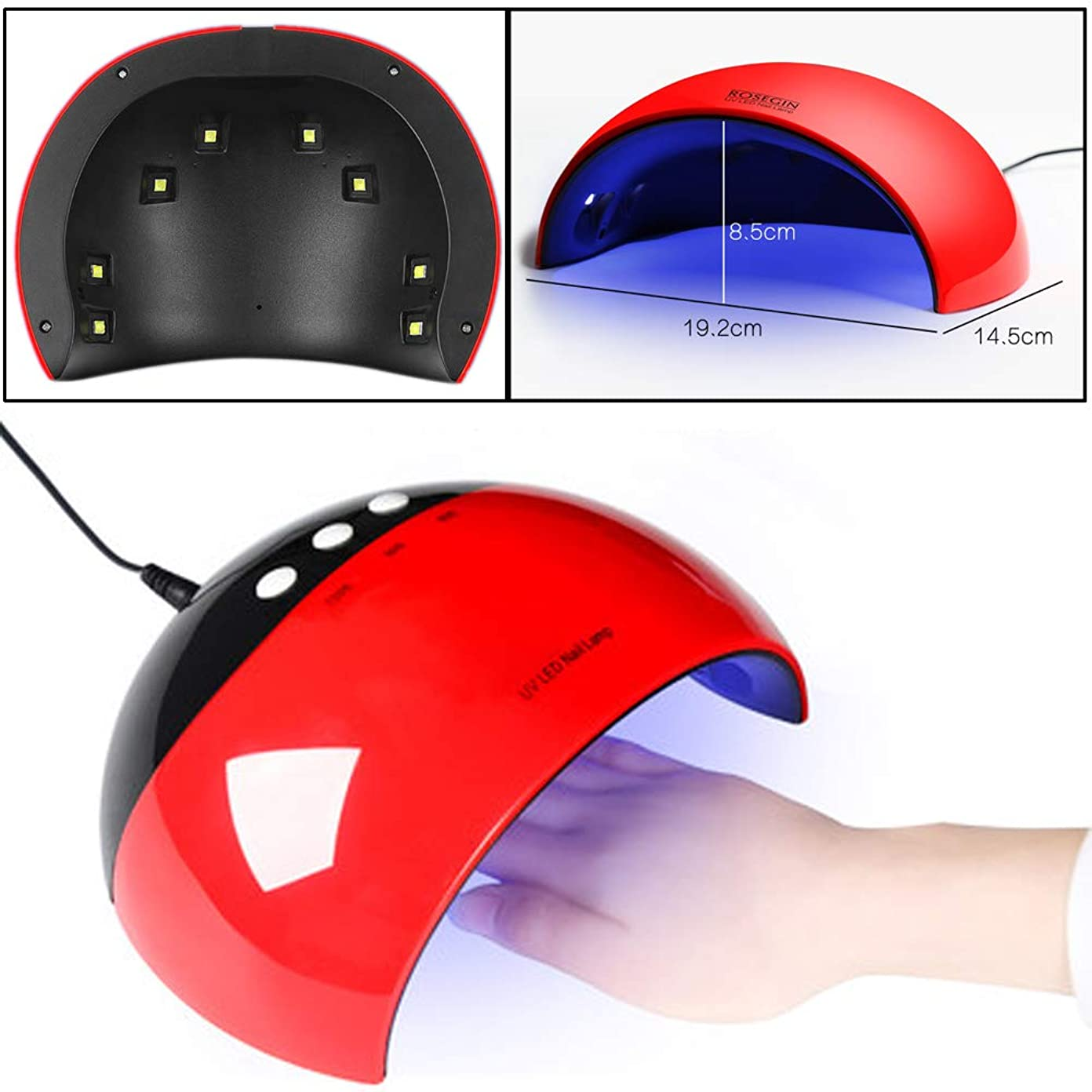 創傷遺伝的ボイコット硬化用ライト ネイルドライヤー ジェルネイルLEDライト24W新型 3段階タイマー付きUSB式 UVライト ハイパワー 日本語説明書付き