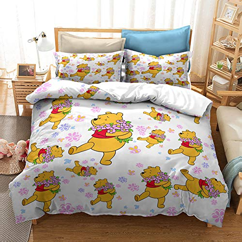 Anime Cartoon Winnie the Pooh - Funda de edredón, microfibra 3D, juego de ropa de cama 2/3 piezas, oso animal, funda de edredón de microfibra (135 x 200 cm)