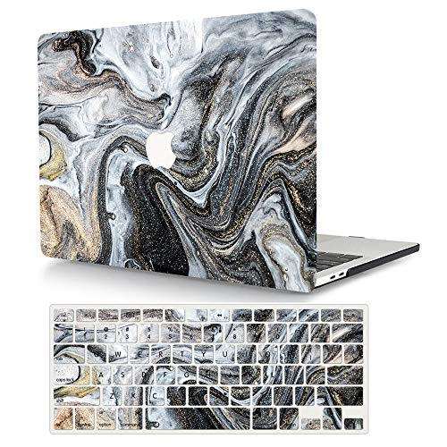 MacBook Pro 13 inch Case 2020 2019 2018 2017 2016 Release A2338 M1 A2289 A2251 A2159 A1989 A1706 A1708, AJYX Plastic Hard Shell Case Cover & Keyboard Cover for Mac Pro 13 inch - Black Marble