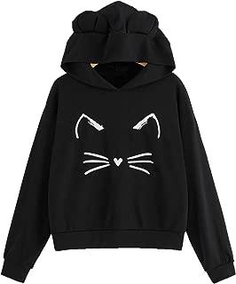 Women's Cat Print Lightweight Sweatshirt Long Sleeve Casual Pullover Shirt