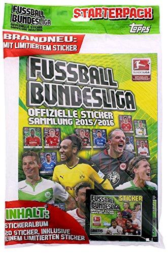 Topps - Deutsche Fußball Bundesliga 2015/16 Sammel Sticker - Sammel Album (mit 4 Tütchen & Thomas Müller-Karte) (Album + Starter Karten)