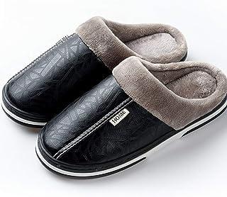 Drxiu Zapatillas de Hombre Zapatillas de Invierno Antideslizantes Zapatos de Interior para Mujer Hombres de Cuero Zapato d...