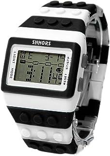 SHHORS Reloj de Pulsera para Niño y Niña, Digital, Infantil, Casual, Moderno, Divertido, Bloque, Multifuncional, con Cronó...