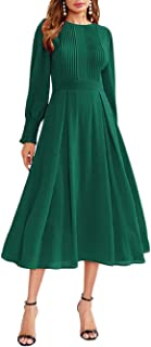 Milumia Women`s Elegant Frilled Long Sleeve Pleated Fit and Flare Dress