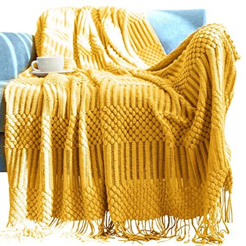 Panegy Sofadecke Gelb Quasten Tagesdecke Wohndecke Kuscheldecke Gelb Decke Sofa Baumwolle Couchdecke Bettüberwurf 127*152CM