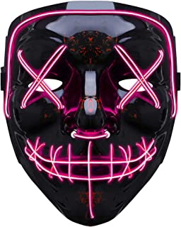 GLIME LED Mask Halloween Scary Mask Cosplay Led Costume Mask for Halloween Party