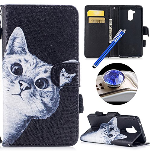 Coque en Cuir Huawei Honor 6C,Etsue Etui Housse Cuir Folio Portefeuille magnétique PU Leather Wallet Support Feature Flip Protecteur Cas Pochette Mode Ananas Chat Motifs Stand Case Huawei Honor 6C