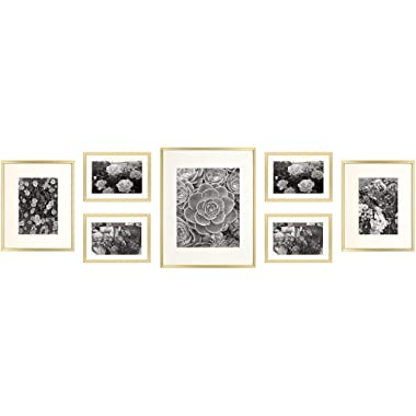 Golden State Art, Gold Metal Wall Photo Frame Collection, Set of 7, Aluminum Photo Frame with Ivory Color Mat & Real Glass