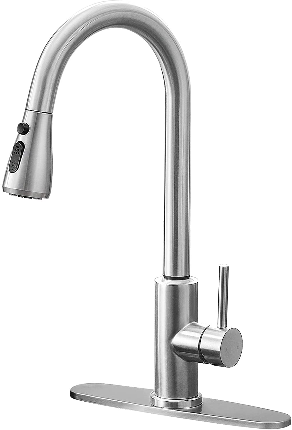 Qomolangma Kitchen Faucet with Pull Down Sprayer, Single Level Stainless Steel Kitchen Sink Faucets, Single Handle High Arc Brushed Nickel Pull Out Kitchen Faucet