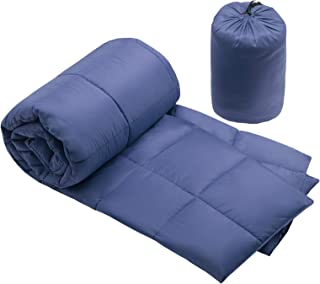 Premier Comfort Packable Down Alternative Luxury Throw Navy 50x60 Premium Soft Cozy Lightweight Nylon For Bed, Couch or Sofa