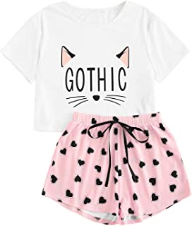 Women's Cat Letter Print 2 Piece Short Sleeve Top and Pant Pajama Set