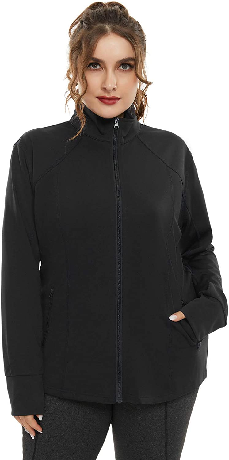 Hanna Nikole Plus Size Running Jackets for Women Full Zip with Thumb Holes