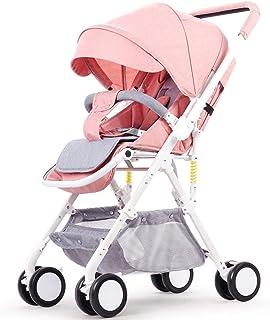 Lätt barnvagn med vändbart styre, bärbar hopfällbar vagn resa buggy från födsel till 15 kg-e