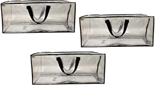 EarthWise Clear Storage Bags Heavy Duty Extra Large Transparent Moving Totes w/Zipper Closure Reusable Backpack Carrying Handles - Compatible with IKEA Frakta Hand Carts (3 Pack) (29 X 18 X 12)