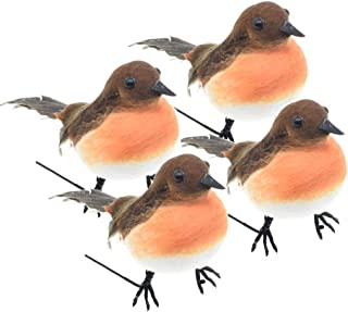 ToSSme 4PCS Large Robin Bird Christmas Tree Decoration Craft Very Cute Artificial Feather