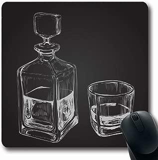 Ahawoso Mousepad Oblong 7.9x9.8 Bourbon Sketch Whiskey Purity Bottle Malt Glass Food Drink Decanter Alcoholic Alcoholism Bar Beverage Non-Slip Rubber Mouse Pad Office Computer Laptop Game Mat