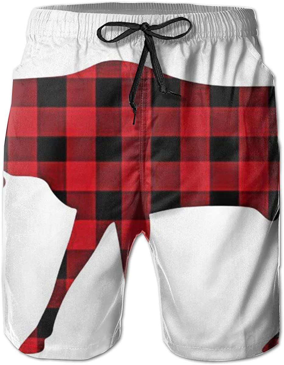 Buffalo Plaid Moose Special price Red Board Short New Orleans Mall Shorts Pants Swim Beach Trun