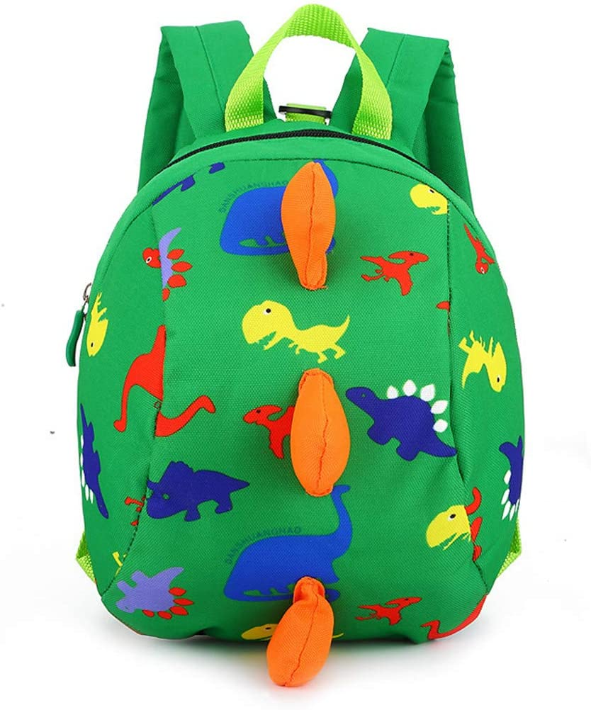 MITOWERMI Cute Dinosaur Prints Mini Toddler Backpack Kids Baby Bookbag Preschool Backpack with Leash Safety Harness (Green)