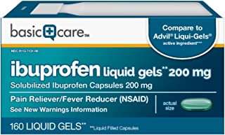 Basic Care Ibuprofen Liquid Gels 200 mg, Pain Reliever/Fever Reducer (Liquid Filled Capsules), 160 Count