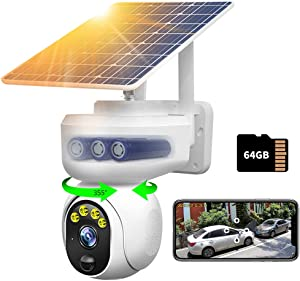 Wireless Solar Outdoor Home Security WiFi Camera PTZ Full Color Night Vision with Audio,PIR Motion Detection Alarm,64G SD Card,15000mAh Rechargeable Battery,IP65 Weather Proof,Siren,360 View