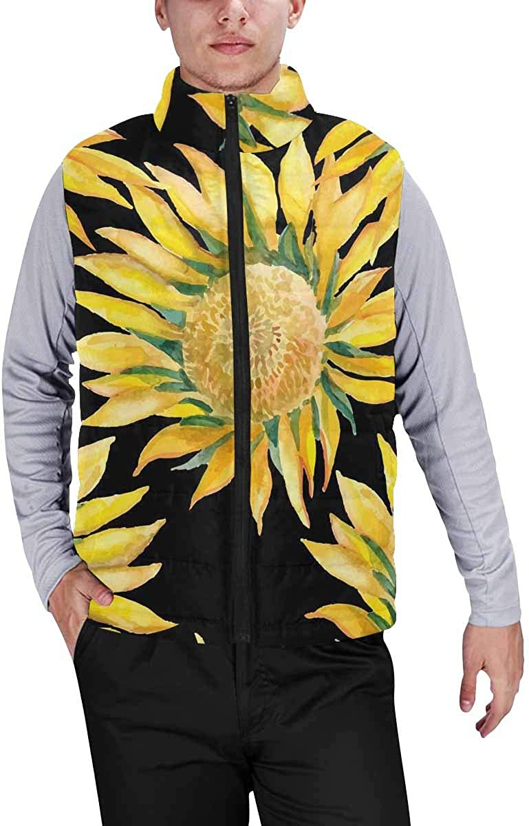 InterestPrint Men's Outdoor Casual Stand Collar Padded Vest Coats Sunflowers and Oriole Pattern Watercolor, Exotic Bird