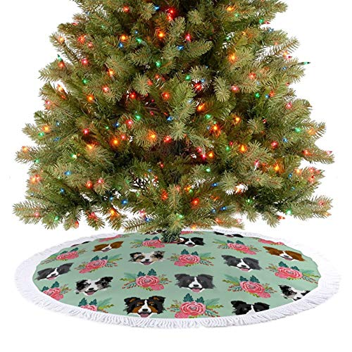 JHKSO 30''×30'' Christmas Tree Skirt - Skirt for Christmas Tree with Tassel for Holiday Tree Xmas Ornaments,Border Collie Florals