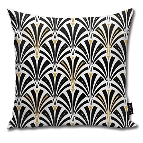 QMS CONTRACTING LIMITED Throw Pillow Cover Art Deco Fan Decorative Pillow Case Home Decor Square 18x18 Inches Pillowcase